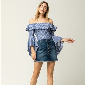 Tops - Ruffle sleeve women's off the shoulder top
